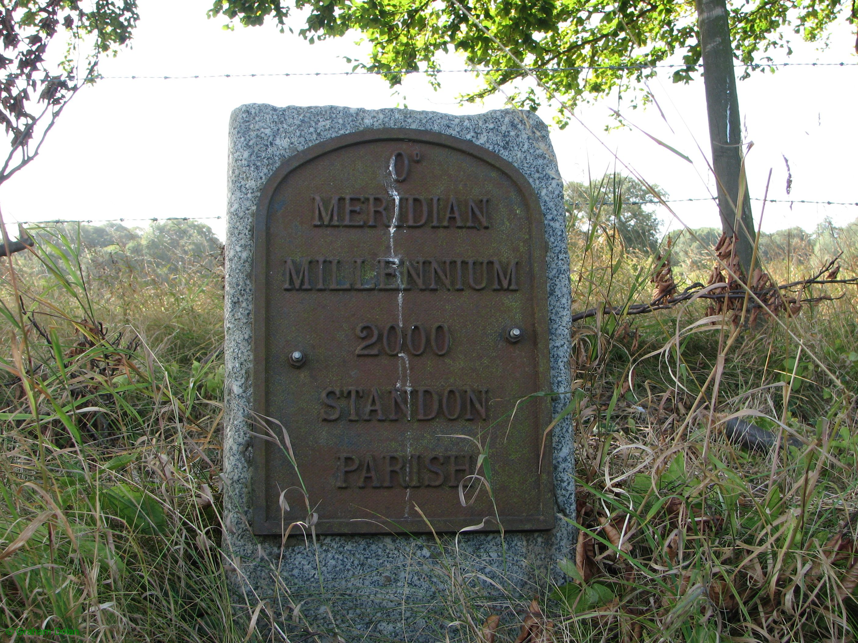 Greenwich Meridian Marker; England; Hertfordshire; Old Hall Green